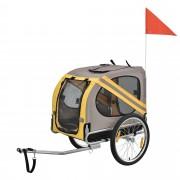 [pro.tec]® Remolque de bicicleta para perros - cargador para perros hasta 40 kg - Gris/Amarillo/Negro - 130 x 73 x 94 cm