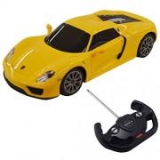New 1:14 Porsche 918 Spyder Licensed Radio Remote Control RC Car w/Lights Yellow
