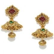 Zaveri Pearls jhumka earrings traditional in antique gold look - ZPFK5036
