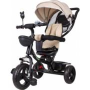 Tricicleta cu scaun rotativ maner parental copertina roti din cauciuc suport picioare pliabil culoare bej