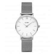 CLUSE Horloges Minuit Mesh Silver White Silver Zilverkleurig