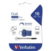 Pendrive, 16GB, USB 3.0+USB-C adapter, VERBATIM, DUAL (UV16DC)
