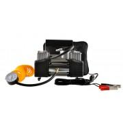 Compresor Auto Profesional cu Piston Dublu, 12V-13,5V, Protectie Supratensiune, 150 PSI, Manometru cu Furtun Spiralat, Clesti pentru Conectare la Baterie