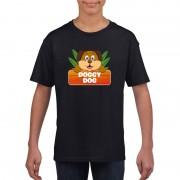 Bellatio Decorations Honden dieren t-shirt zwart voor kinderen
