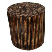 Wooden Round Shape Stool/Chair/Table Made From Natural Wood Blocks 12 Inch by Desi Karigar