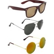 Zyaden Wayfarer, Aviator, Round Sunglasses(Brown, Black, Multicolor)