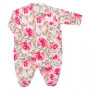 Macacão longo para bebe em soft Flores - Tilly Baby TB182458 MACACAO LONGO FEM SOFT FLORAL ROSA-P