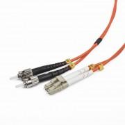 Cablu Fibra Optica, conectori LC-ST, lungime cablu 2m, duplex multimode, bulk, Portocaliu-negru-alb, GEMBIRD (CFO-LCST-OM2-2M)