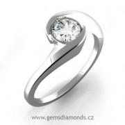 Luxusní prsten s diamantem Aneta, bílé zlato 386-0145