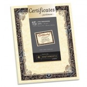 Foil-Enhanced Parchment Certificate, Ivory W/silver Foil, 8 1/2 X 11, 15/pack