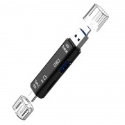 Multifunctional 3-in-1 OTG Adapter And MicroSD Card Reader - Black
