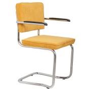 Fotel RIDGE KINK RIB YELLOW 24A 1200053 Zuiver wygięta chromowa rama żółta sztruksowa tapicerka