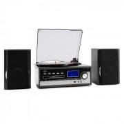 Auna Blackwood Equipo estéreo Tocadiscos USB MP3 Codificación CD Casete FM AUX