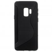 Capa de TPU S-Line para Samsung Galaxy S9 - Fibra de Carbono - Preto