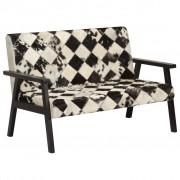 vidaXL 2-местен диван, бяло и черно, естествена козя кожа