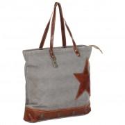 vidaXL Shopper Bag Dark Grey 48x61 cm Canvas and Real Leather