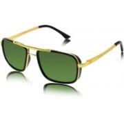 fashion sunglasses Rectangular Sunglasses(Golden, Green)