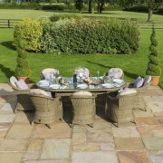 Maze Rattan Winchester 8 Seat Oval Dining Set with Heritage Chairs, Ice Bucket and Lazy Susan