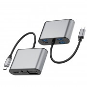 SEEWEI TW8R 8-in-1 USB-C/Type-C to 3 USB 3.0 + USB-C/Type-C + HDMI + VGA Hub Adapter with Micro SD Card Slot & 3.5mm AUX