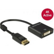 Adapter DELOCK, DisplayPort (M) na DVI-I 24+5 (Ž), 4K, crni