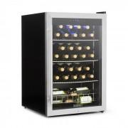 Klarstein Falcon Crest Getränkekühler Weinkühlschrank Glastür Edelstahlrahmen 4 - 18 °C Touch-Bedienfeld 128 Liter für 48 Weinflaschen mit Schloss 2 Schlüssel blaue LED 42 dB Edelstahl