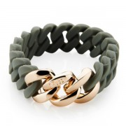 The Rubz Natural Silicone 15mm Unisex Bracelet Green Tea & Rose Gold