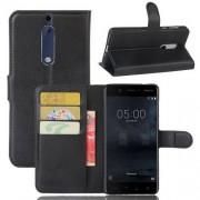 WALLET notesz tok / flip tok - FEKETE - asztali tartó funkciós, oldalra nyíló, rejtett mágneses záródás, bankkártyatartó zseb, szilikon belső - NOKIA 5