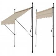 [pro.tec]® Toldo articulado con armazón - Color de arena - 150 x 120 x 200-300 cm - Toldo enrollable terraza balcón - Protector de sol - Parasol