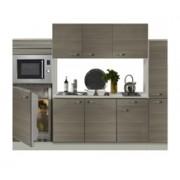 Keuken 240cm houtnerf incl koelkast, kookplaat en apothekerskast RAI-372