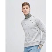 Hymn - Sweatshirt med broderade fotbollsspelare - Grå