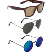 Zyaden Wayfarer, Aviator, Round Sunglasses(Brown, Black, Blue)