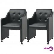 vidaXL Blagovaonske stolice 2 kom Crne 59x57,5x86,5 cm