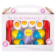 Invero Fun Outdoor Garden Egg and Spoon Race Set Party Game - Ideal for Children'S Parties, Sports Days More
