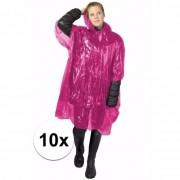 Geen 10x wegwerp regenponcho roze
