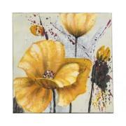 Tablou pictat manual Crizanteme galbene 40x40 cm