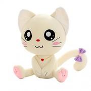 Lepakshi White Big Eyes Smile 20Cm Emoji Pillow Expression Cat Plush Toys Sitting Smilies Cat Doll