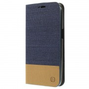 Capa Carteira com Textura em Dois Tons para Samsung Galaxy Core Prime - Azul Escuro / Castanho