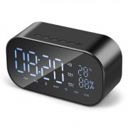S2 Digital Alarm Clock Radio Wireless Bluetooth Speaker with Dual Alarm & 3.5mm Audio Input - Black