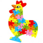 Magideal Set of Wooden Chicken Alphabet Puzzle Brain Teaser Toy Kids Alphabets Color Educational Gift Multicolor
