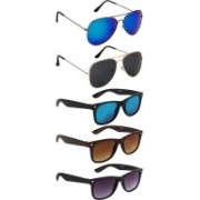 NuVew Aviator, Wayfarer Sunglasses(Black, Blue, Brown, Green, Blue, Violet)