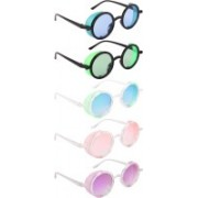 NuVew Round, Shield Sunglasses(Blue, Green, Pink, Violet)