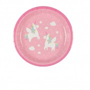 Saas Belle Assiette Carton Licorne Rose x8