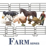 Toymany Farm Animals Figure Toys Gift Set, Realistic Farm Animals Playset with Farmer Fence and Accessories, Farm Animal Includes Horse Cow Pig Hen Duck Rabbits, Birthday Gift for Kids Toddlers