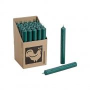 Bellatio Design 25x Lange kaarsen donkergroen 18 cm staafkaarsen/steekkaarsen