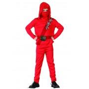 Disfarce ninja vermelho rapaz - L 10-12 anos (130-140 cm)