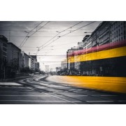 Warszawa Tramwaj na Marszałkowskiej - plakat premium