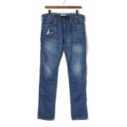 【80%OFF】DP BLACKIE クラッシュ デニム調 イージーパンツ ブルー 31 ファッション > メンズウエア~~パンツ