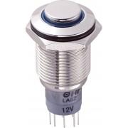 Întrerupător anti-vandalism 16 mm, iluminare 12V/inel, IP 67, 2 x ON/(ON), material alamă nichelată, buton în relief, conexiune prin lipire, culoare led albastru