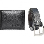 Random Mens Artificial Leather Belt and Black Wallet Combo