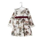 【75%OFF】プリント ベロアリボン ラッフルデザイン 長袖ドレス グレージュ 10 ベビー用品 > 衣服~~ベビー服